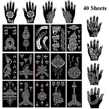 84568e924 Amazon.com : Xmasir 40 Sheets Self-adhesive Henna Tattoo Stencils Set Mehndi  Template for Tattoo Body Art Painting Indian Arabian Airbrush Tattoos :  Beauty