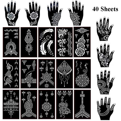 Xmasir 40 Sheets Self-adhesive Henna Tattoo Stencils Set,Mehndi Template for Tattoo Body Art Painting Indian Arabian Airbrush Tattoos