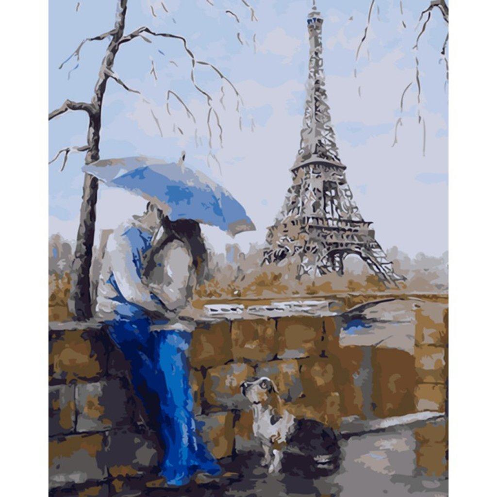 SLYlive Le Parapluie Bleu - Peinture Par Numéro Kits, Diy Peinture à L'huile Dessin -16x20 Pouces Non-encadré Peindre Trousse Pour Adultes Enfants Décor De Maison Cadeaux SLYlive Le Parapluie Bleu - Peinture Par Numéro Kits