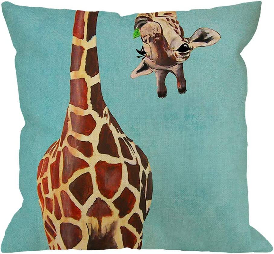 Amazon Com Hgod Designs Giraffe Throw Pillow Cushion Cover Funny Giraffe Licking Head Cotton Linen Polyester Decorative Home Decor Sofa Couch Desk Chair Bedroom 18x18inch Square Throw Pillow Case Blue Brown Home Kitchen
