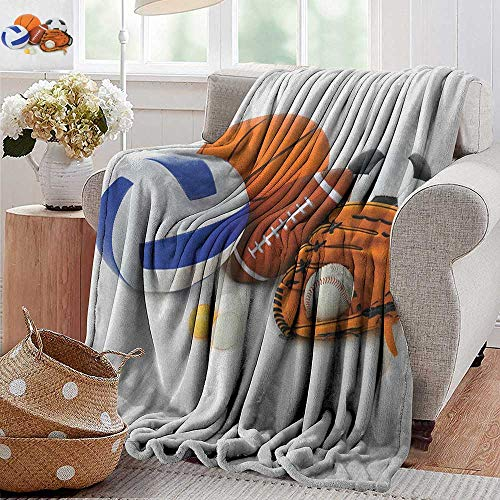 XavieraDoherty Couch Blanket,Sports,Many Different Sports Balls All Together Championship Ping Pong Volleyball Olympics, Multicolor,Warm & Hypoallergenic Washable Couch/Bed Throws, Microfiber 30