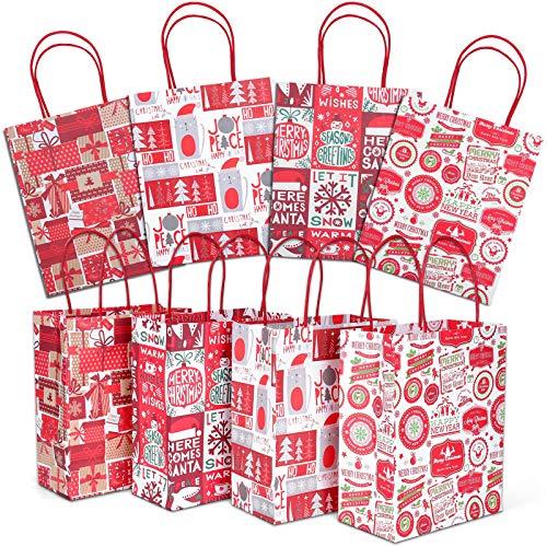 Christmas Gift Bags, 24 Count Christmas Bags for Gifts, Reusable Kraft Xmas Goody Wrapping Bags for Christmas New Year…