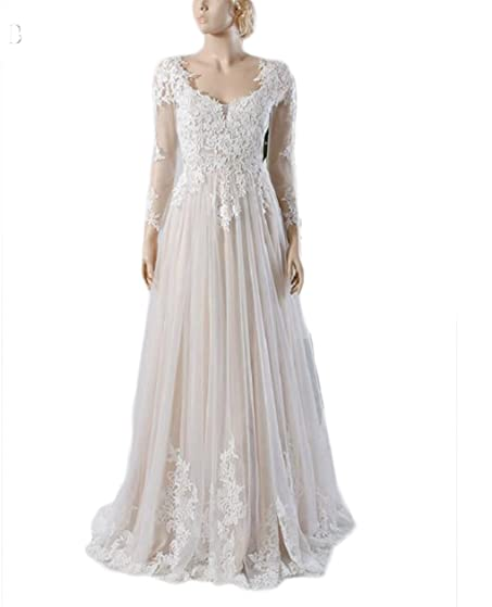 Ivory Lace Tulle Long Sleeves Floor-Length V-Neck A-Line Wedding Dresses
