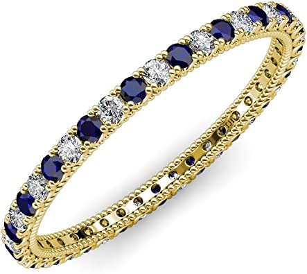 TriJewels Blue Sapphire and Diamond 1.7mm U-Prong with Milgrain Eternity Band 0.68 to 0.78 ctw 14K Gold