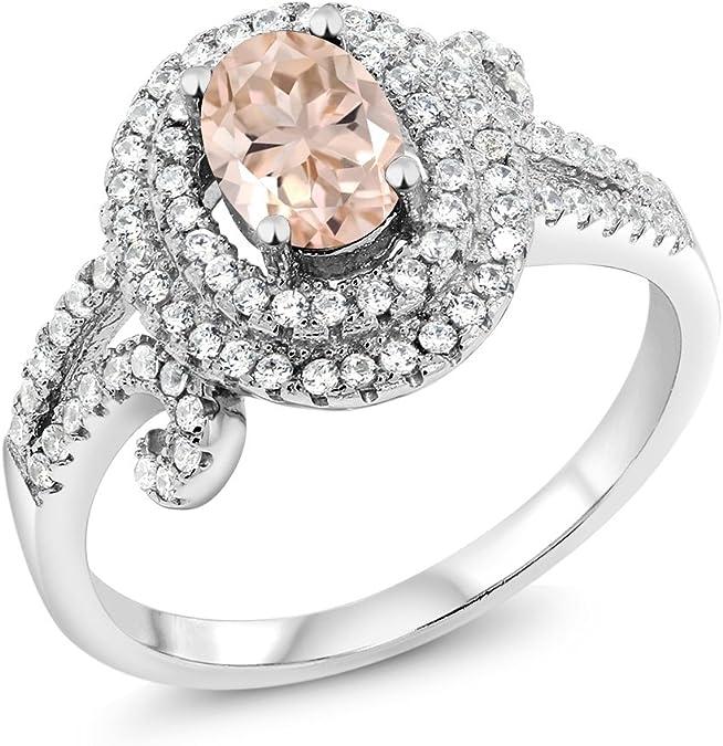 Oro 18k PE 4.0 ct diamante de imitación Anillo De Compromiso 6 M