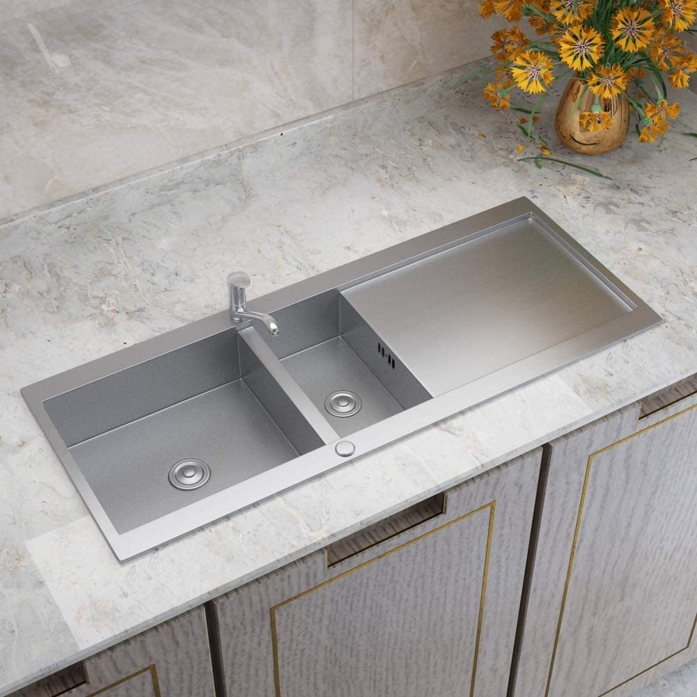 Warmiehomy Stainless Steel Kitchen Sink Inset Double Bowl Kitchen Sink Square Reversible Sink Small Sinks Size 1000mm X 550mm X 205mm Amazon Co Uk Kitchen Home