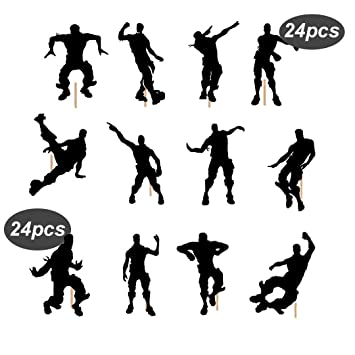 Pinkaboo 24pcs Dance Floss Cupcake Toppers For Birthday Cake Game