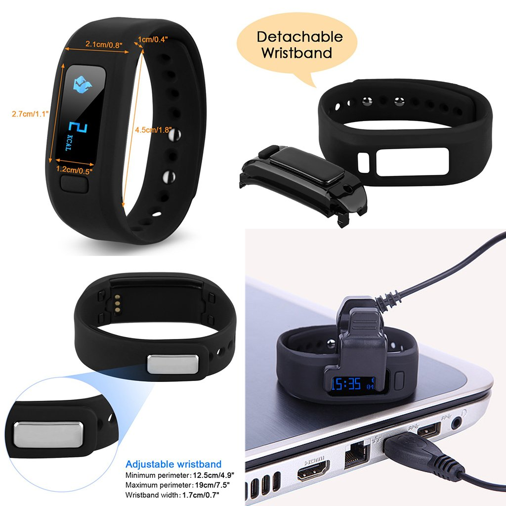 AGPtEK Moving up2 Smart Wristband Activity Tracker Bluetooth V4.0 Smart Sport Bracelet with Pedometer / Sleep Monitoring / Tracking Calorie/ Remote Capture Compatible for Android SAMSUNG HTC SONY LG and IOS Iphone 6/6s/6sPLUS/7/7PLUS