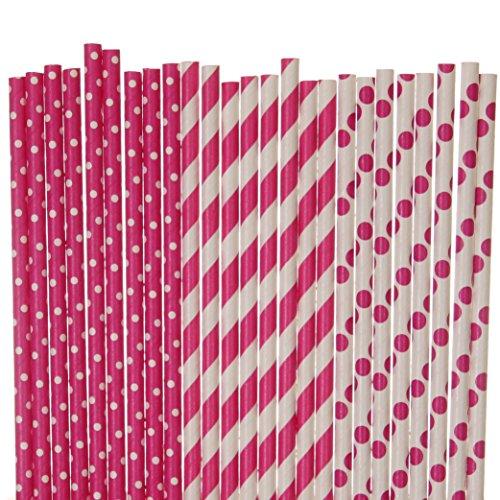 - Hot Pink Paper Straw Mix - Polka Dot, Striped (50)