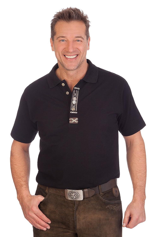 Trachten Herren Poloshirt - OLAF - schwarz