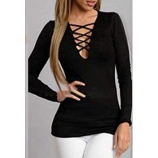 30c980b6697 OUTAD Women T-Shirts Long Sleeve Lace-up Tops Sexy Deep V Neck ...