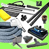 Central Vacuum kit with Powerhead, hose and tools for Beam Electrolux Nutone Hayden fits all brands white head (black, 30ft)