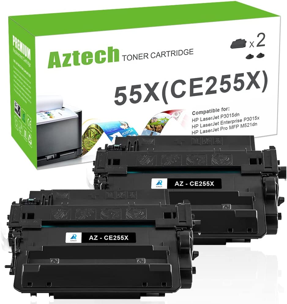 Aztech Compatible Toner Cartridge Replacement for HP CE255X 55X CE255A 55A Laserjet Enterprise P3015dn P3015x Laserjet Pro 500 MFP M521dn M521dw (Black, 2-Packs)