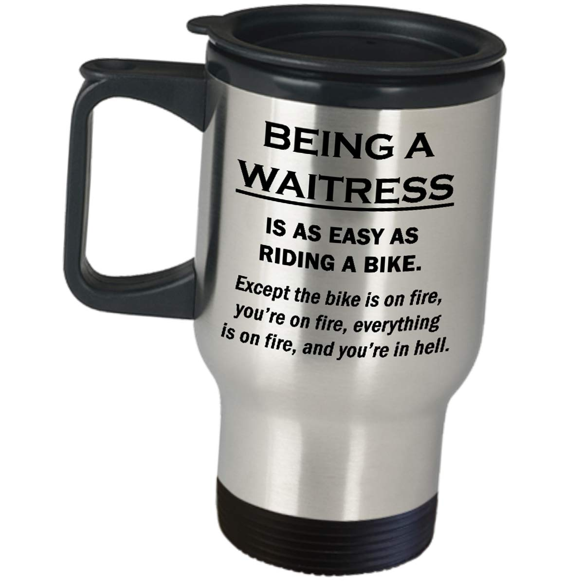 Waitress Travel Mug Gift - Riding A Bike On Fire - Stainless Steel Insulated Coffee Tumbler Fun Job Pride Gifts Restaurant Cafeteria Food Order Taker Appreciation For Women Server Funny Cute Gag