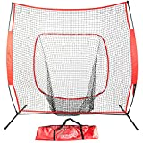 Balight Baseball and Softball Practice Net Hitting, Pitching, Batting and Catching 7 x 7 with bow