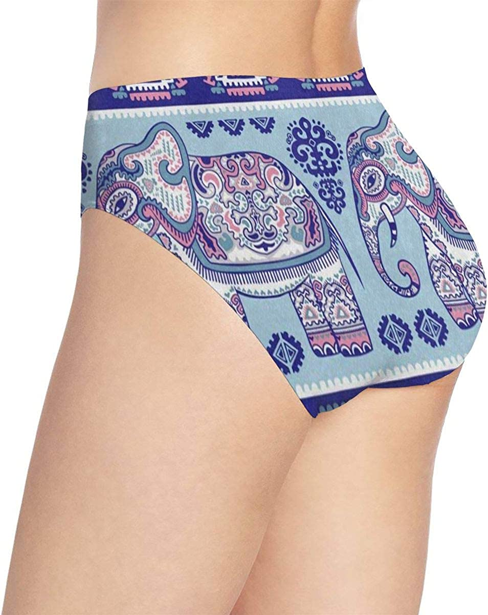 Womens Seamless Stretch Bikini Panty Indian Culture Elephant Floral Underwear Coverage Panties