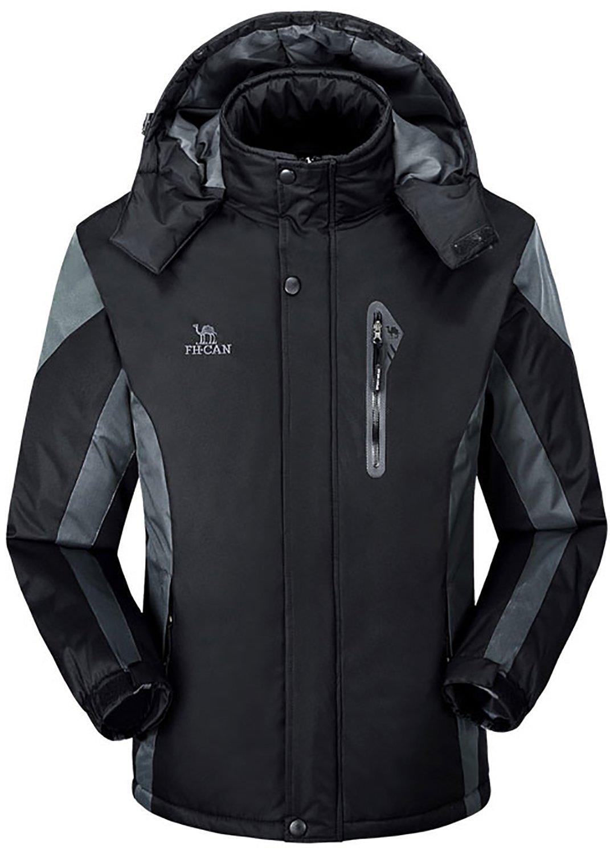 Men's Winter Warm Fleece Lined Ski Coats Outdoor Hooded Waterproof Parka Jacket Black US X-Large / Asian 5XL by HENGJIA (Image #1)