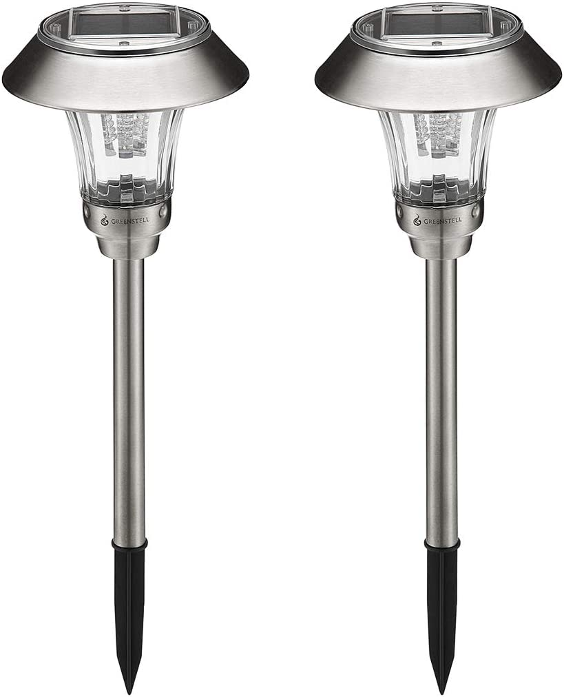 Greenstell Solar Lights Outdoor,Super-Bright,Auto On/Off,Waterproof,LED Solar Powered Pathway Light for Garden,Landscape,Path,Yard,Patio,Driveway,Walkway,Silver (2 Pack)