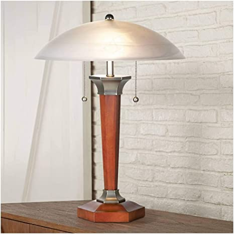Art Deco Accent Table Lamp Walnut Solid Wood And Nickel Off White Frosted Glass Dome Shade For Living Room Bedroom Bedside Nightstand Office Regency
