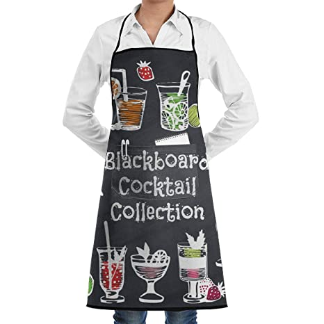 ae519f8aa Image Unavailable. Image not available for. Color: Chalk Draw is Cocktail Adjustable  Bib Apron Waterdrop Resistant with 2 Pockets Cooking Kitchen Aprons for