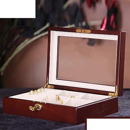 vendimia de la joyería caja de madera/Cubierta madera azotea adorno caja de almacenamiento/
