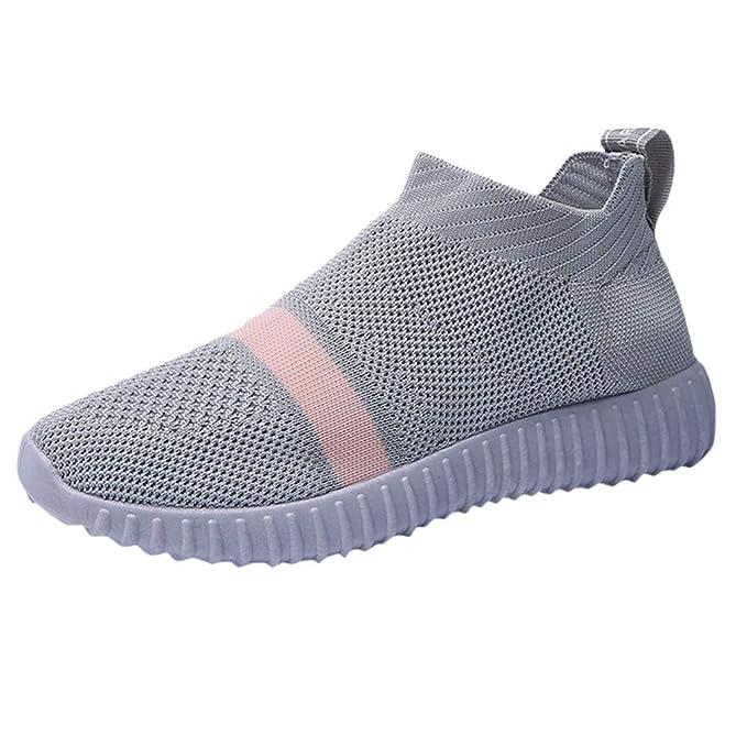 beautyjourney Zapato de Ocio de Verano para Mujer Zapatillas Deportivas de Running Planas Zapatillas Ligeras Antideslizantes Zapatillas de Malla ...