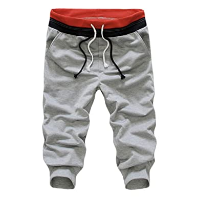 b9714e909ee5 Kurze Sporthose Herren - Mode Einfarbig Elastische Taille Hose mit Taschen Beiläufig  Sommer Shorts Sweatpants Trainingshose