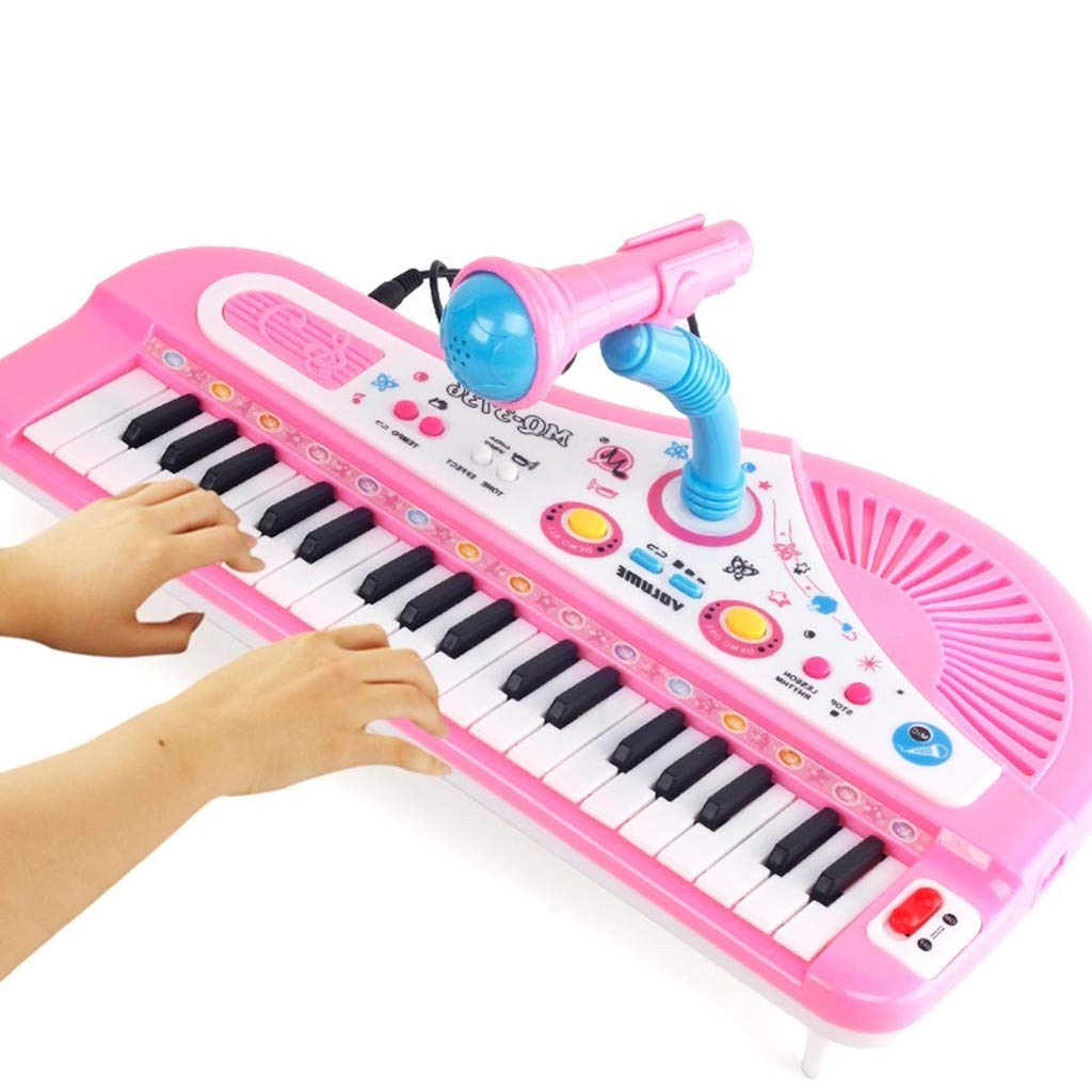 Children's Puzzle Early Learning 37-Key Keyboard Microphone Girl Music Piano Story Piano Toys Drums and Keyboard Piano LED Lights and Sound Multi-Function Color Buttons Safe and Durable Toys by TKI-S