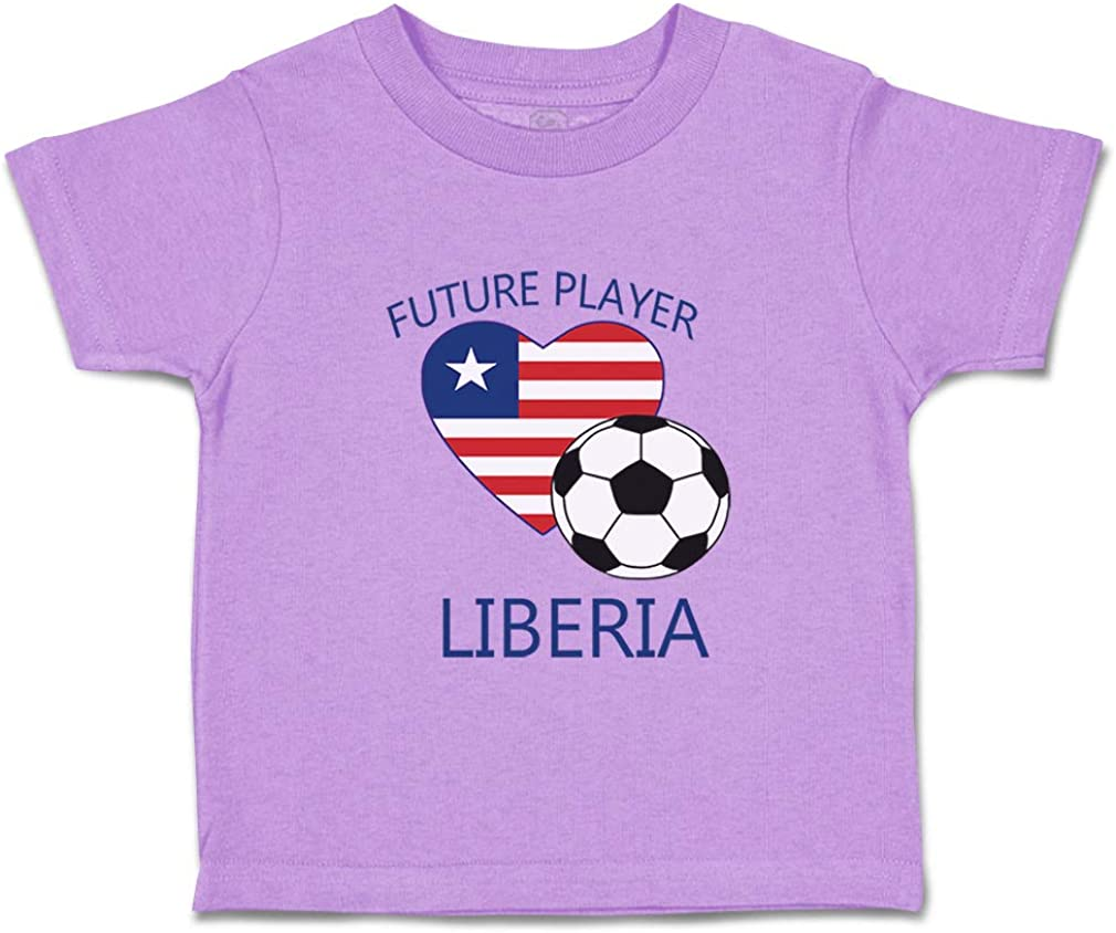 Custom Baby /& Toddler T-Shirt Future Soccer Player Liberia Boy Girl Clothes