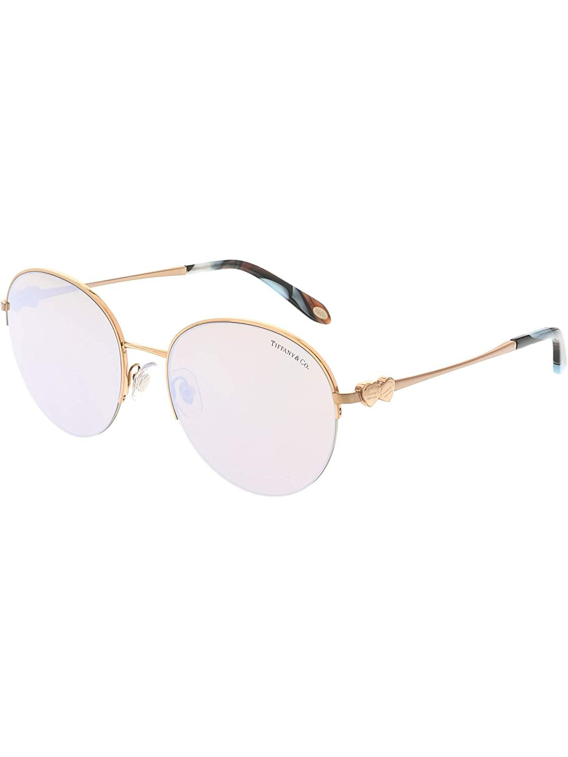c996df75b4a6 Tiffany and Co. Round Sunglasses TF3053 610964 Bronze Copper Frame with  Brown Mirror White Lenses at Amazon Women s Clothing store