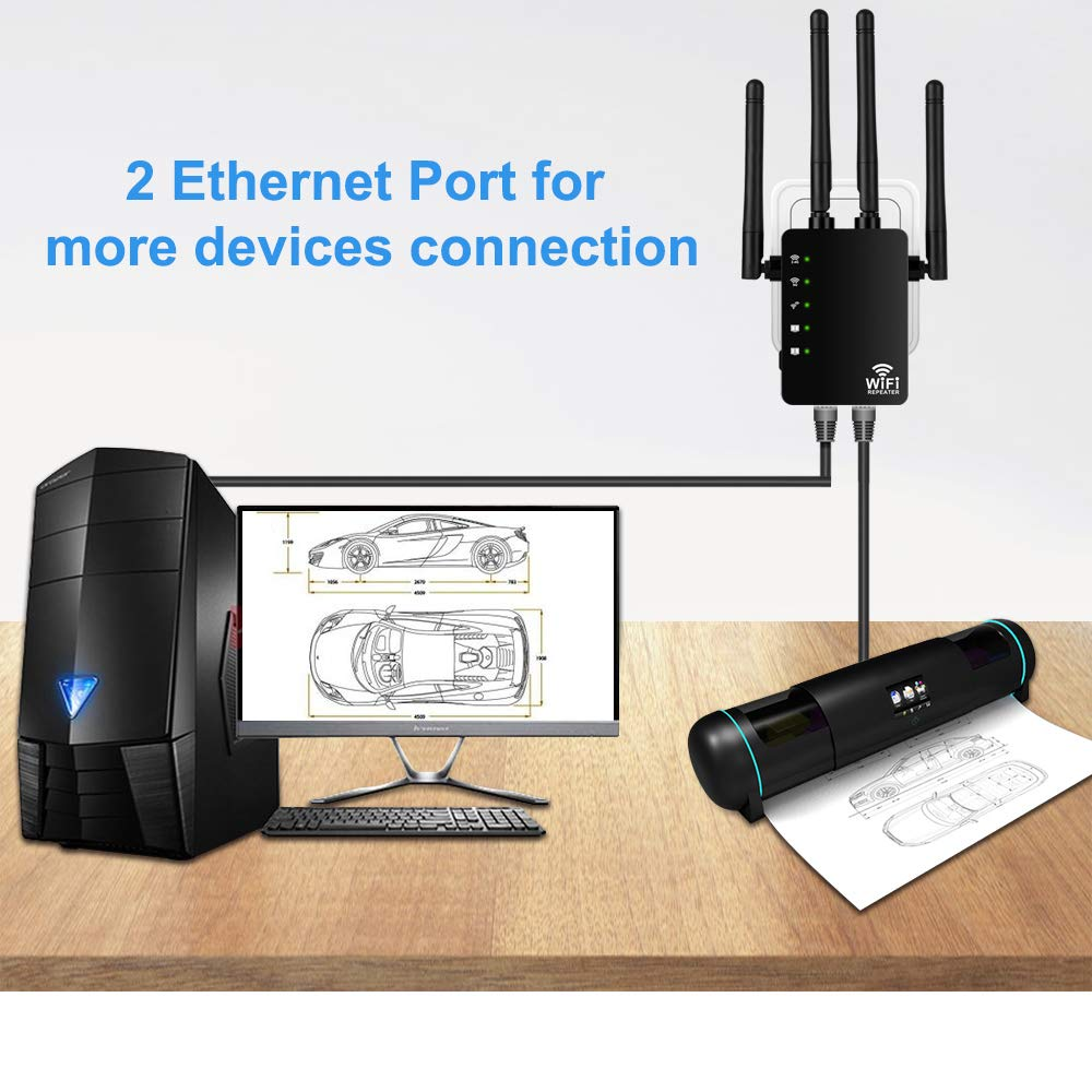 Aigital Wireless Internet Booster Dual Band 5G+2.4G 1200Mbps WiFi Extender Black Wi-Fi Repeater Signal Amplifier Full Network Coverage with Long Range High Gain Antennas /& WPS Function