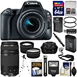 Canon EOS Rebel SL2 Wi-Fi Digital SLR Camera & 18-55mm is STM (Black) + 75-300mm III Lens + 64GB Card + Case + Flash + Battery/Charger + Tripod Kit