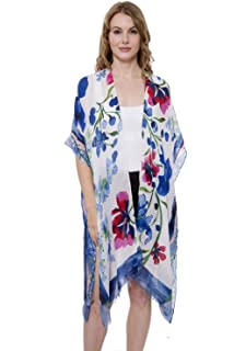 5c6f170d55 Janice Apparel Women's Summer Floral Print Topper/Cover-Up/Kimono Side Slit  Open