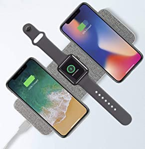 Tech2 Nano 3 in 1 Wireless Charger with Adapter, Qi-Certified Fast Wireless Charging Dock Station Pad for Apple iWatch Series 5/4/3/2/1, AirPods Pro/2 & iPhone 11/11 Pro Max/XR/XS Max/Xs/Samsung