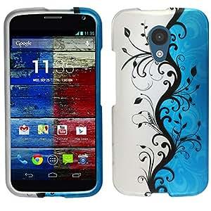 Rubberized Protector Cover Phone Case Motorola Moto G (2nd Gen) + FREE PRIMO DESIGN CARTOON FOLDABLE TOTE BAG (BLUE / SILVER VINES)