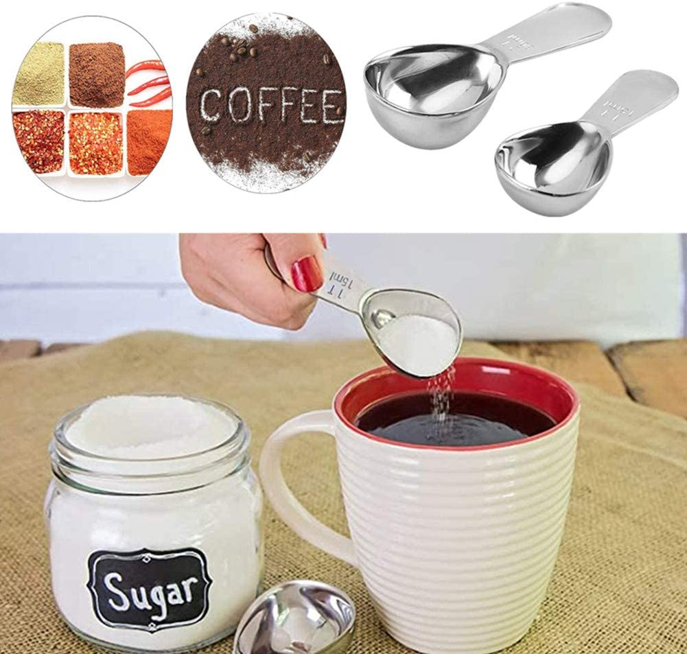 3Pcs Coffee Measure Scoops Best Stainless Steel Measuring Spoons for Coffee,Tea,and More Coffee Scoop with Bag Clip Measuring Coffee Spoon