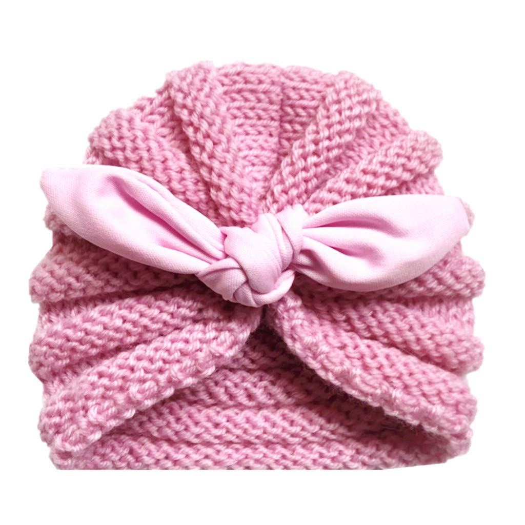 Little Kid Winter Warm Hat,Jchen(TM) Newborn Baby Boy Girl Knitted Turban Knotted Hat Headwear Cap Baby Keep Warm Knitted Cap for 0-2 Years Old (A)