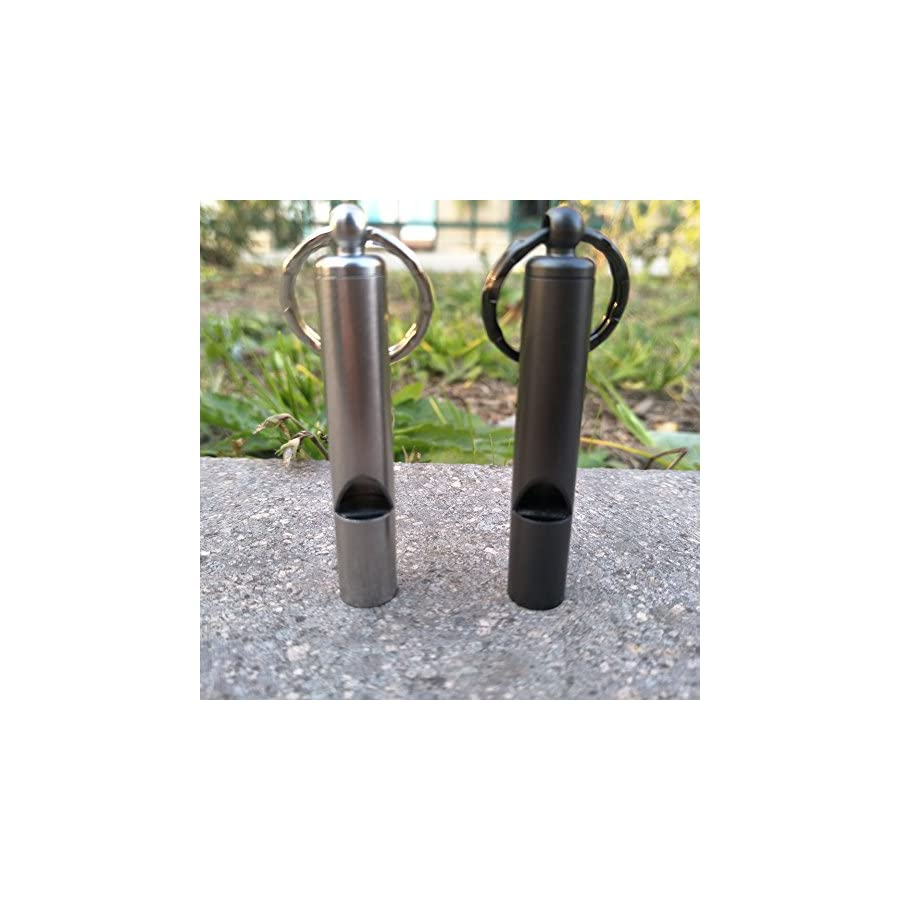 EKLOEN 2 PCS Emergency Hiking Camping Survival Stainless Steel Loud Whistle with Keyring