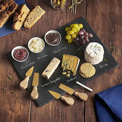 -[ VonShef 9pc Cheese Tray & Dipping Accessories with Slate Board for Cheese with Knives and Di