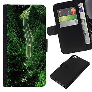 KLONGSHOP // Tirón de la caja Cartera de cuero con ranuras para tarjetas - Verano Verde Esperanza Naturaleza Drive - HTC Desire 820 //