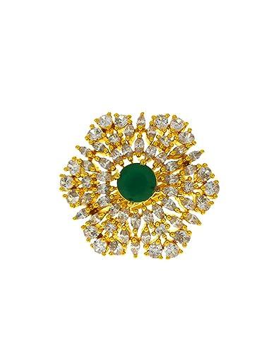 : Anuradha Art Green Colour Flower Styled