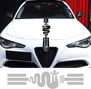 For Alfa Romeo Juliet 159 Mito styling hood car sticker hood stripe pattern Decal uniform Badge (GRAY)