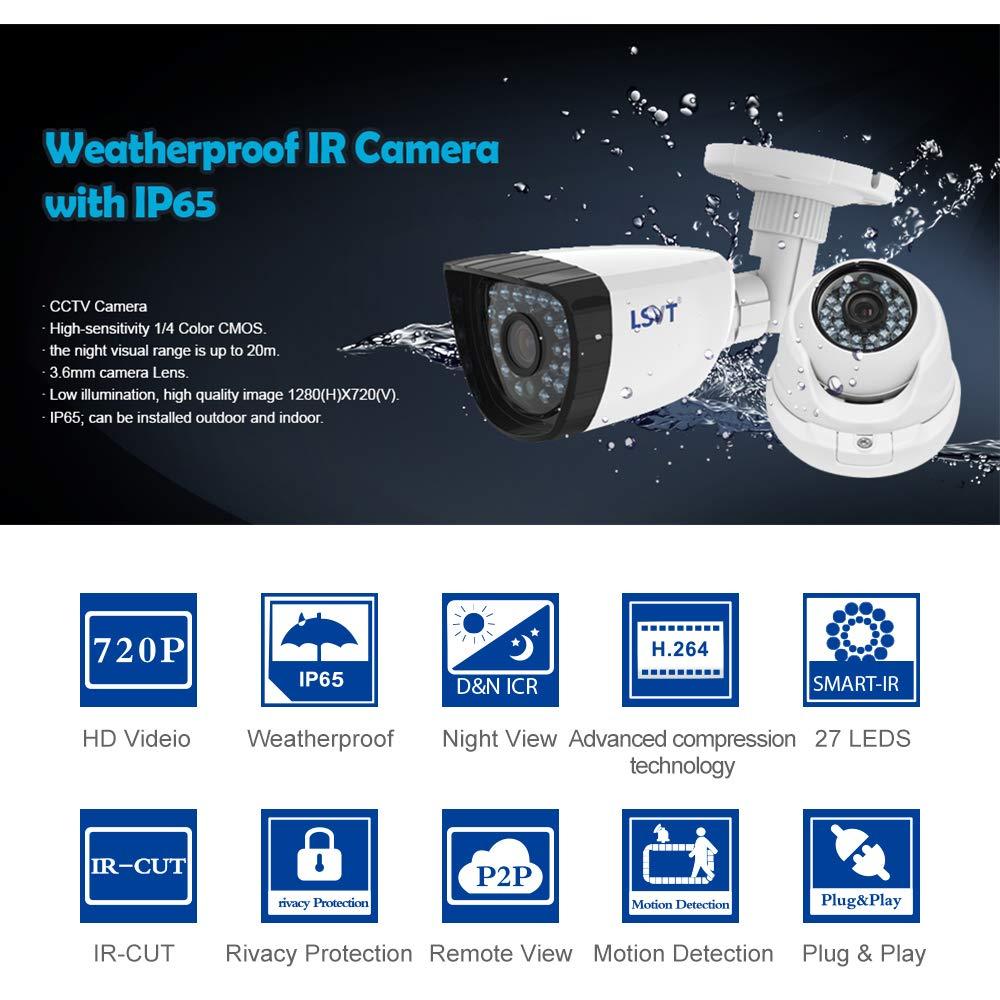 FREECAM 4CH CCTV System 720P HDMI AHD CCTV DVR 4PCS 1.0 MP IR Outdoor Home Security Camera 1200 TVL Camera Surveillance Kit by Freecam (Image #5)