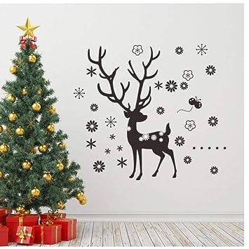 Pegatinas de pared grande 88 * 98cm ciervos de la Navidad del copo ...
