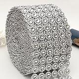 6fila diamantes de imitación cinta para tartas de boda, decoración de cumpleaños, baby shower eventos y proyectos de arte y artesanía, flor de plata Wrap Rollo de malla diamante, 1, free size