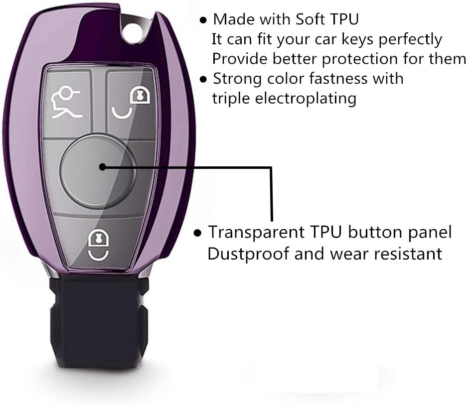 Purple Black Class Smart Key Remote Keyless Entry Mofei for Mercedes Benz Key Fob Shell Cover Case TPU Full Protector Holder with Key Chain for Mercedes Benz A B C CLA CLS E G GLA GLC GLE GLS GT S SLC