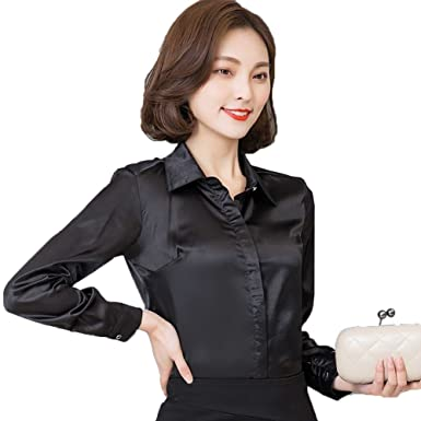 098b48f3005c5 YOUMU Women Satin Silk Long Sleeve Button-Down Shirt Formal Work Silky  Blouse Top Black