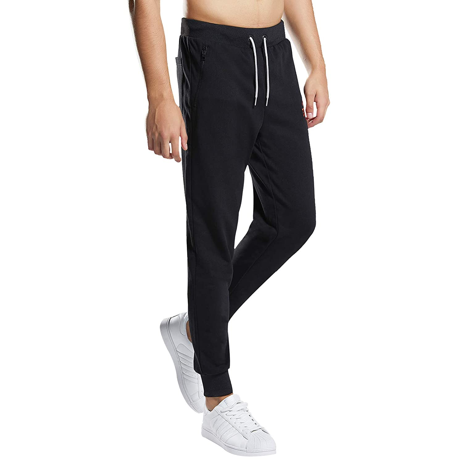 Extreme Pop Mens UK Athletic Sweatpant Jogger Slim Fit Mid-Weight Fleece Elastic Closed Bottom with Zip Pockets
