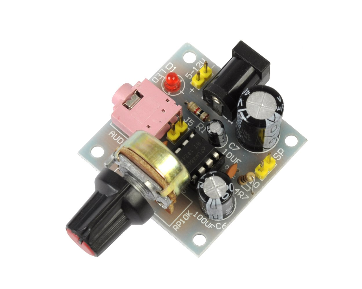 Icstation Mini Lm386 Audio Amplifier Power Amp Speaker Stereo Circuit Driver Module Dc 5v To 12v Input Industrial Scientific