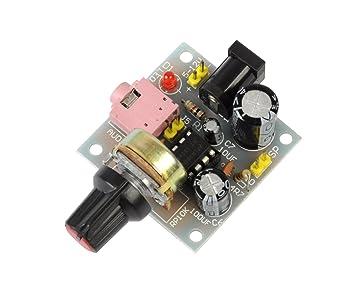 tmallshop Mini amplificador de audio LM386 Módulo de amplificador de potencia controlador de altavoz DC 5 V a 12 V de entrada: Amazon.es: Electrónica